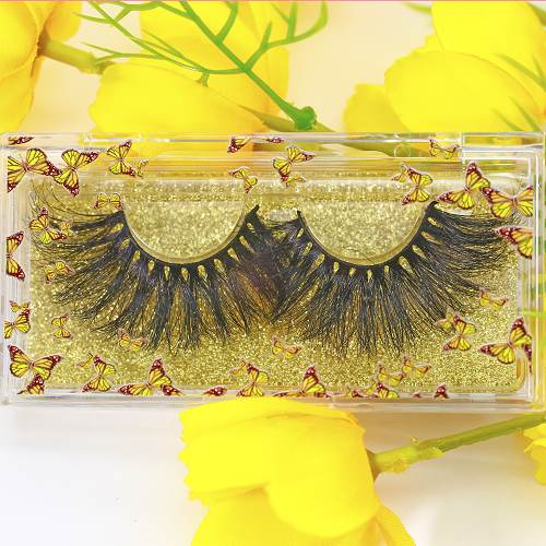 clear eyelash case with yellow butterfly